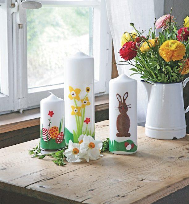 Décoration de pâques : bougies en scène
