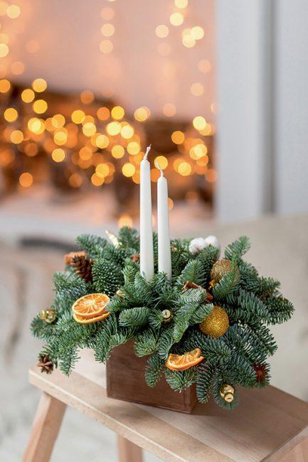 bougie diy Noël avec des oranges séchées
